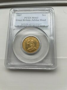 1887 Great Britain Gold Sovereign Jubilee Head Queen Victoria PCGS MS63