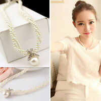 Ladies Crystal Choker Pendant Chunky Pearl Statement Bib Necklace Chain gem