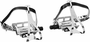 New Wellgo Road Fixie Track Bike Pedal w/ Toe Clips & Leather Strap Set - Silver