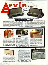 1960 ADVERT 4 PG Arvin Radios Phonographs Record Players Leather Case Transistor