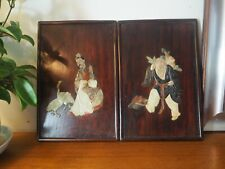 2 Panneaux Bois Chinois Incrustation Pierre Sculpté Pair of Chinese Panel Inlay
