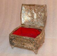 Trinket Jewelry Box Silver Tone Metal Footed Hinged Girl Lamb /Dog Japan Vintage