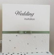 10 handmade Wedding Invitation Stationery Embossed swirl & diamante