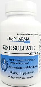 PlusPharma Zinc Sulfate 220mg 100ct Capsules -Expiration Date 12-2023-