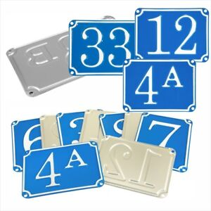 French Traditional Blue House Number Door Gate plate metal sign plaque 01 to 99