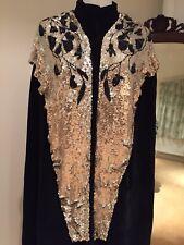 VINTAGE anni 1920 anni 1930 BLACK VELVET opera Cape Mantello Cappotto Scialle Con Perline Art Deco