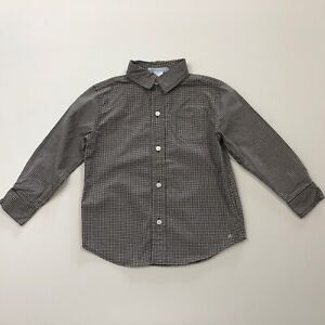 JANIE AND JACK Montana Sky Brown Plaid Button Up Shirt Size 3 3T