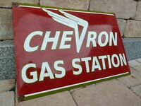 "CHEVRON porcelain sign 24"" heavy convex vintage gasoline oil gas station pump US"