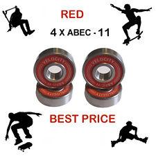 4 RED Abec 11 Wheel bearings Skateboard stunt scooter inline Roller skate 9