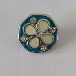 12mm mini petite snap charm for GingerSnap jewelry-Light blue & white flower