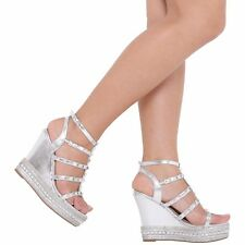 WOMENS LADIES HIGH HEEL FASHION WEDGE SANDALS ANKLE STRAP PLATFORM SHOES 3-8