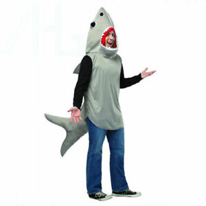 Adult Sand Tiger Shark Attack Costume Animal Unisex Jaws Fish Fancy Dress Outfit