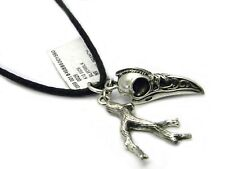 "King Baby Studio Raven Skull and Branch Pendant on 28"" Leather Cord Necklace NWT"