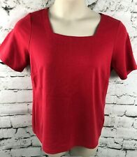 Joan Rivers Womens Top Red Square Neck Short Sleeve Stretch Medium Style A275296