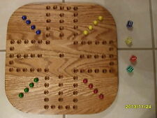 "GREAT GIFT 18"" WOOD OAK AGGRAVATION MARBLE GAME BOARD  2-4 PLAYER  NEW"