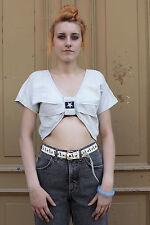 Damen Shirt Top 36 jeans hell 80er True Vintage 90er ärmellos Sommer bauchfrei
