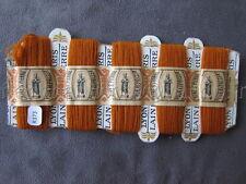 R373 Mercerie ancienne carte fil 5 bobines LAINE SAINT PIERRE orange bande LYON