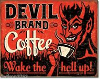 Devil Brand Coffee Retro Metal Tin Sign Home Bar Vintage Style Wall Decor Art