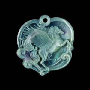 Carved MOP Stone Pegasus Bead GM037022