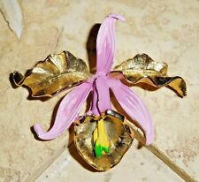 """VINTAGE SIGNED CATTLEYA ORCHID ENAMELED GOLD TONE BROOCH/PIN 2 1/2"""" ~ GORGEOUS"""
