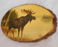 Moose elk wooden plaque Mackinac Island wood American rustic art animal picture