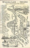 Winona Lake, INDIANA - MAP -  Home of World's Greatest Bible Conference - 1959