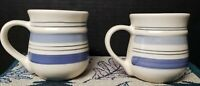 Pfaltzgraff Set of 2 Rio Coffee Mugs Cups Cream W/Blue Stripes EUC