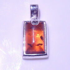 Superb Pendant 925 Sterling Silver Natural Baltic Amber 15mm x 8mm
