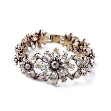 Bracelet Doré Fleur Cristal Brillant Retro Ancien Vintage Class Mariage CT3