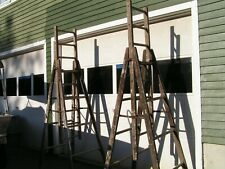 Two (a matching pair) Antique Trestle Extension Ladders circa 1940