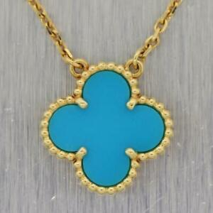 14K Yellow Gold Over Vintage Alhambra Motifs Turquoise Gemstone Pendant Necklace