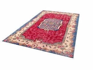 "7'11"" x 5'1""   aqua blue  red cream oushak vintage rug carpet tapis teppich"