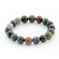 10mm Natural Moss Agate Gemstone Round Beads Stretchy Bangle Bracelet 7.5 inches