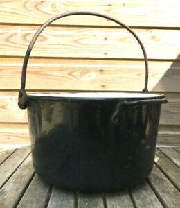 Antique Victorian Large Black Enamel & Iron Stove Soup Jam Conserve Cooking Pot