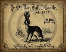 Primitive Ye Ole Hare Tallow Candles Tavern Bunny Rabbit Picture Print 8x10