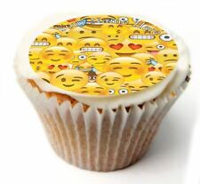 Emoji Birthday Cupcake Toppers x20 Rice Paper or Icing, Personal. 808