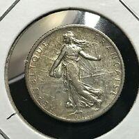 1917 FRANCE SILVER 1 FRANC HIGH GRADE COIN