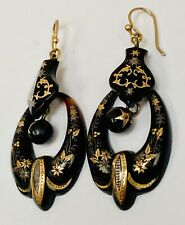 Antique Victorian Pique And Gold Earrings