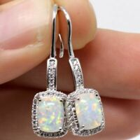 Sparkling White Fire Australian Opal Earrings Women Wedding 14K White Gold