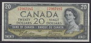 1954 BANK OF CANADA $20 DOLLAR F/E 7967185 MODIFIED PORTRAIT BEATTIE/COYNE NOTE