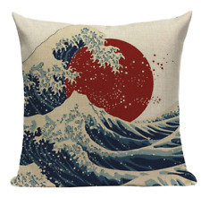 Red Sun Ocean Waves JP5 Cushion Pillow Cover Japanese Painting Oriental Japan