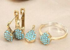 Turkish Handmade Turquoise Silver 925 Set Earring Ring Pendant 6-12