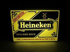 Vintage Original Small Lighted Heineken Beer Sign Metal Frame 1970's Light