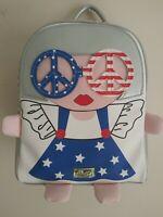 MEDIUM LUV BETSEY JOHNSON AMERICAN GIRL RED WHITE BLUE FLAG BACKPACK & NECKLACE
