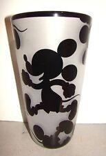 Correia Art Glass Sand Carved Cameo Glass Disney Mickey Mouse Vase