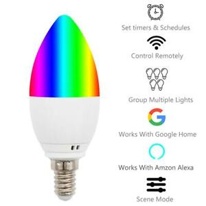 E14 Smart WiFi Candle Bulb RGBW LED Light Compatible with Alexa Google Assistant