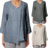 ZANZEA 8-24 Women Crewneck Pullover Top Tee T Shirt Cotton Linen Stripe Blouse
