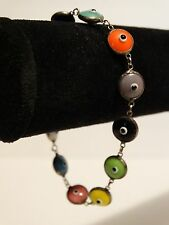 "Bracelet Murano Glass 11 Multi Color Beads Evil Eye 7 7/8"" 925 SMY tag"