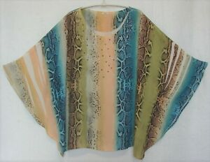Reba Woman Plus Size 3X Embellished Butterfly Sleeve Snake Print Pullover Top
