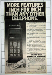 EXCELL Cellphone Pocket Phone ~ Old 1987 Advert Clipping